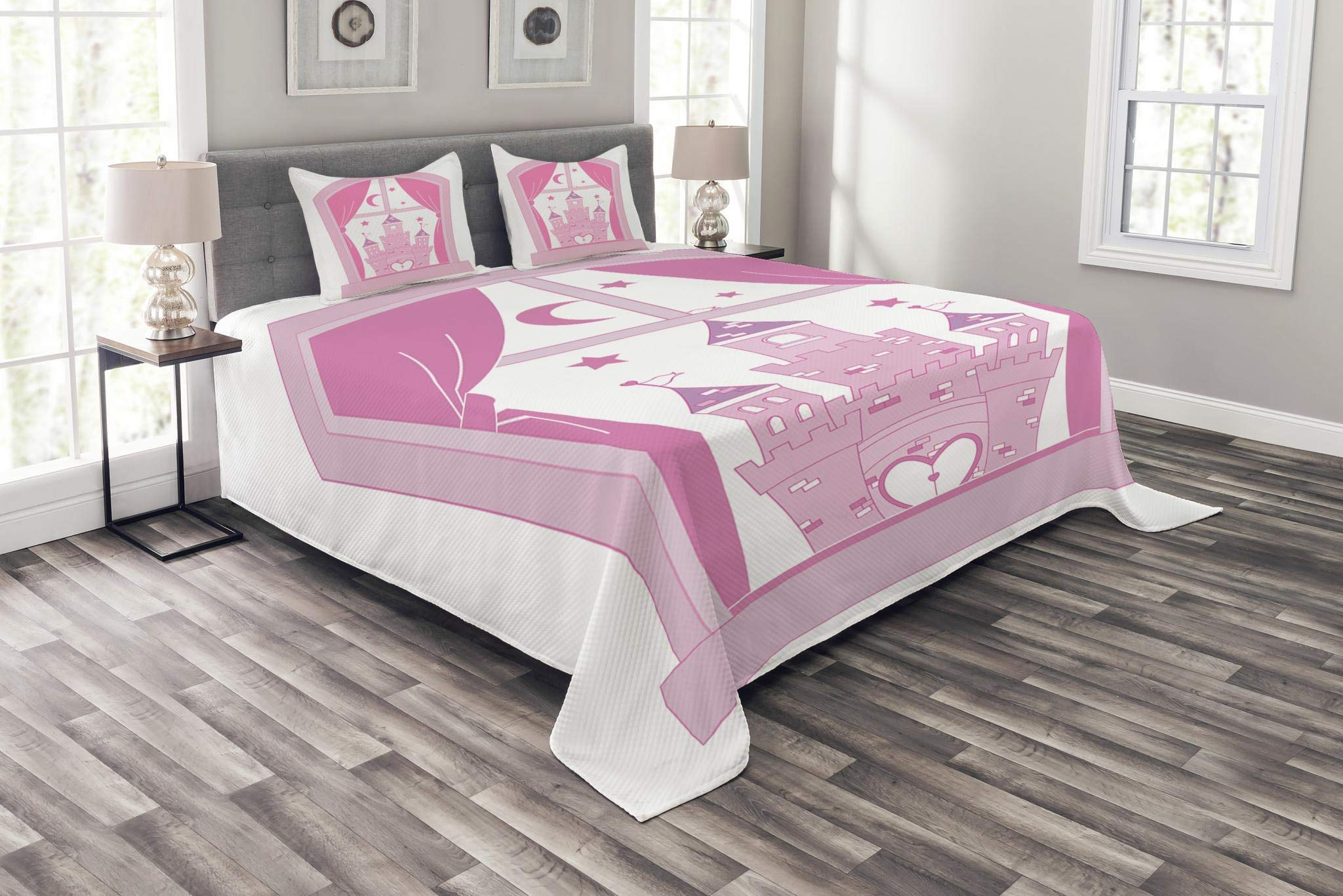 Lunarable Princess Bedspread Set King Size, Princess Castle Night Sky Stars Moon Palace Royalty Love Window Cartoon Print, Decorative Quilted 3 Piece Coverlet Set with 2 Pillow Shams, Pink Rose White