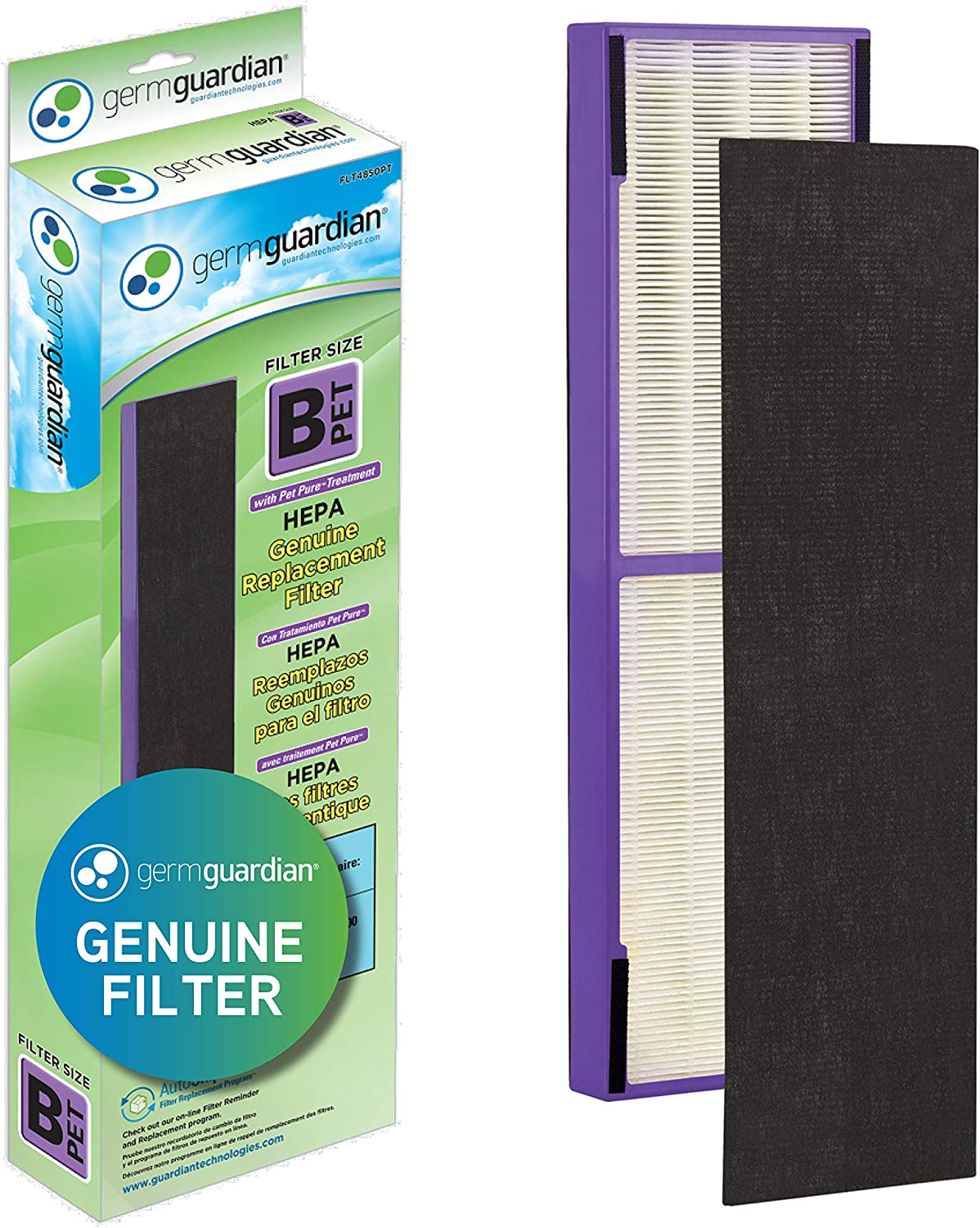 Germ Guardian FLT4850PT True HEPA Genuine Air Purifier Replacement Filter B, with Pet Pure Treatment for GermGuardian AC4900, AC4825, AC4850PT, CDAP4500, AC4300, and More, 1 Count (Pack of 1): Health & Personal Care