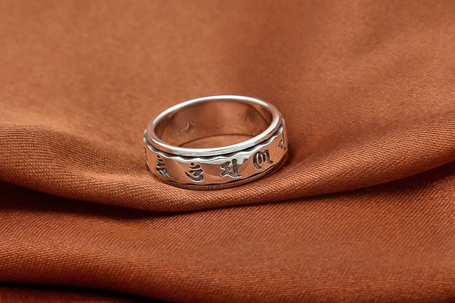 Aooaz Silver Material Ring Six-Word Mantra Memoirs Wave Ring Ring for Men