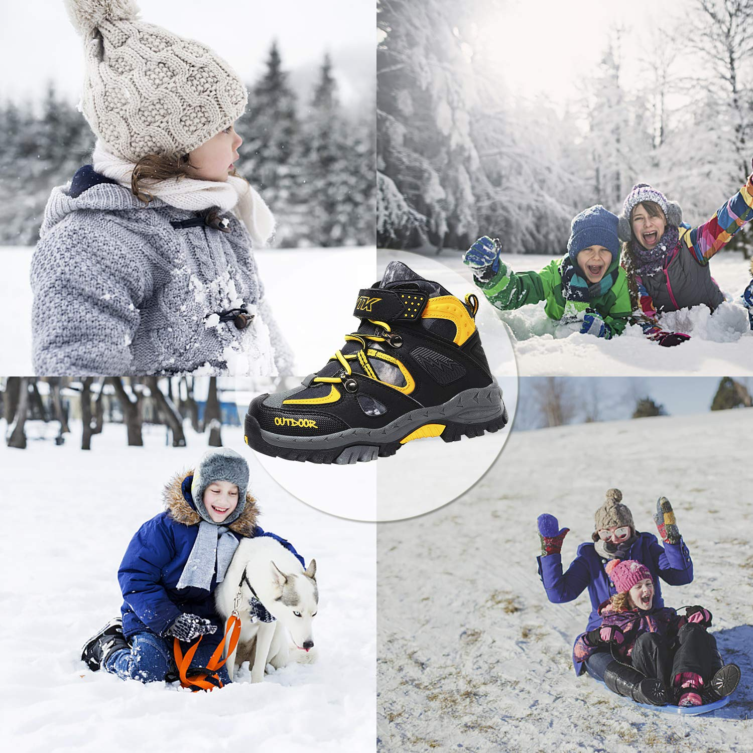 Toddler//Little Kid//Big Kid Elaphurus Kids Boots Outdoor Snow Boots Hiking Walking Winter Boots Slip Resistant Trekking Shoes for Boys and Girls