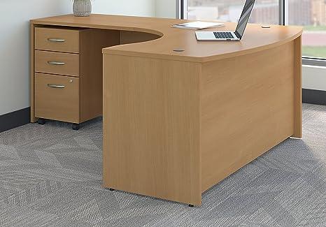 Bush Business Furniture Series C Left Handed L Shaped Desk With Mobile File Cabinet In Light Oak Furniture Decor