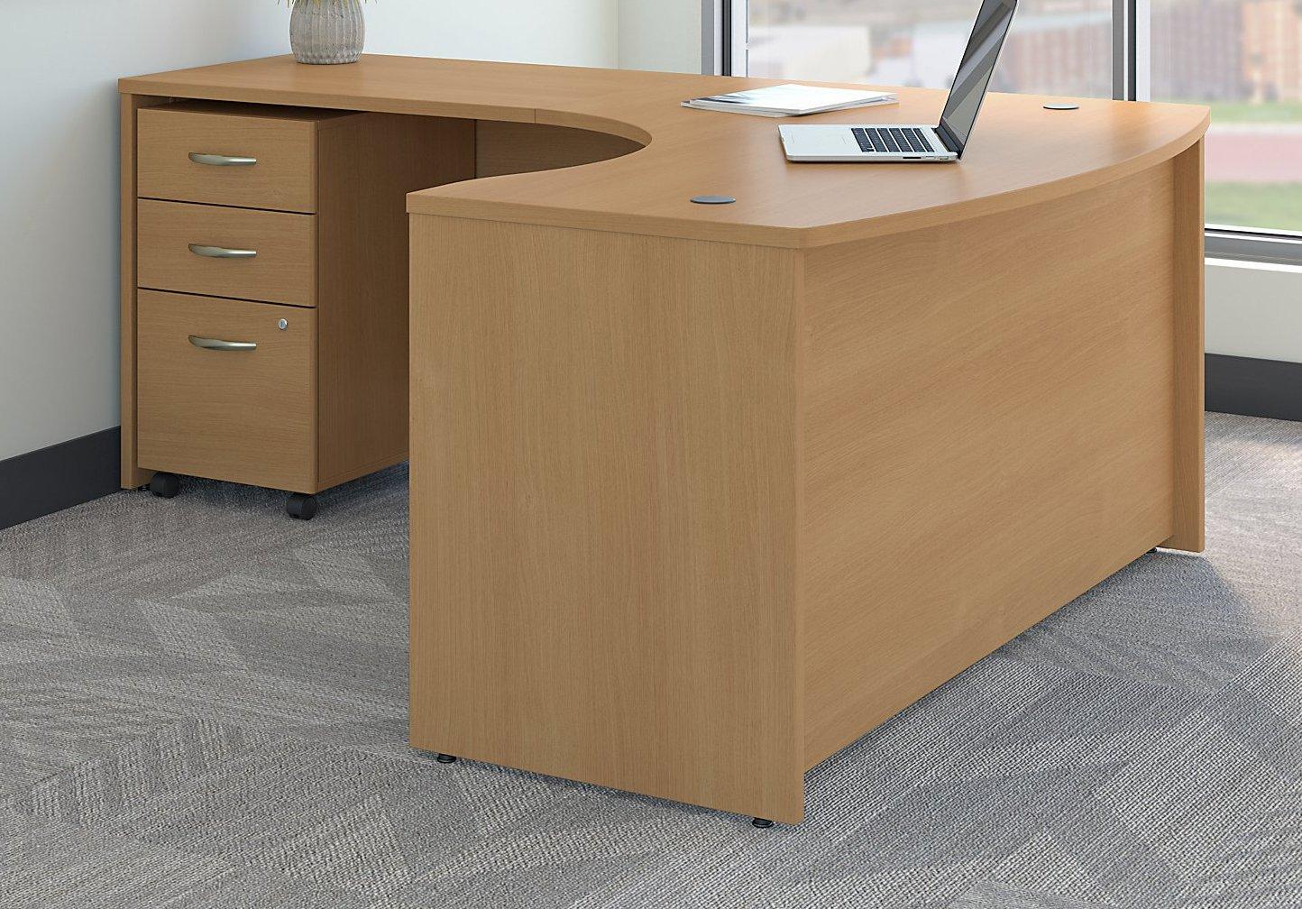 Bush Business Furniture Series C Left Handed L Shaped Desk with Mobile File Cabinet in Light Oak