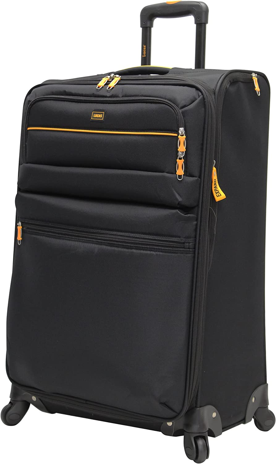 Lucas Luggage Lightweight 27 inch Large Softside Expandable Suitcase With Spinner Wheels 27in, Tuscany Black