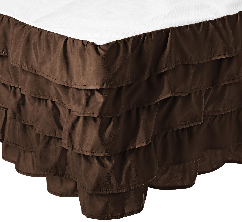 チョコレートブラウン Brown クイーン Luxurious Bed Drop, Quality Skirt (Queen, B071LF3WCW Fade and Wrinkle Resistant クイーン チョコレートブラウン Multi-Ruffle Queen, Egyptian Chocolate Premium 38cm 1500 Thread Brown) Count Comfort Quality Chocolate Elegant Microfiber