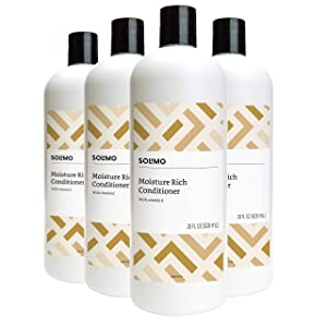 Amazon Brand - Solimo Moisture Rich Conditioner, 28 Fluid Ounce (Pack of 4)