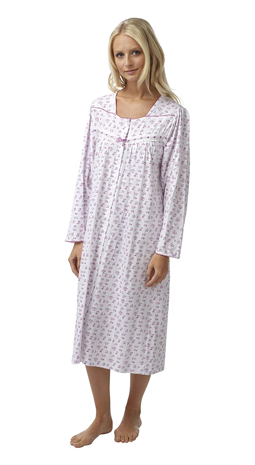 Ladies Floral Button Through 100% Cotton Jersey Long Sleeved Nightdress. Pink or Blue. Sizes 8-10 1214 16-18 20-22 24-26