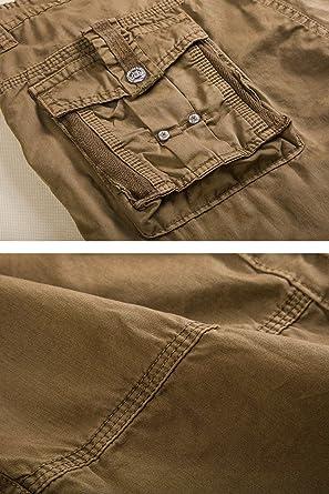 per il tempo libero pantaloncini cargo in cotone Pinkpum con tasche multiple Bermuda da uomo