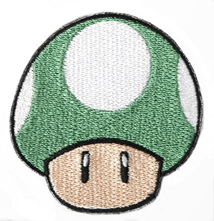 Green Mushroom 1up Patch Embroidered Iron On Badge Applique Costume Mario Kart Snes Mario World Super Mario Brothers Mario All Stars Cosplay