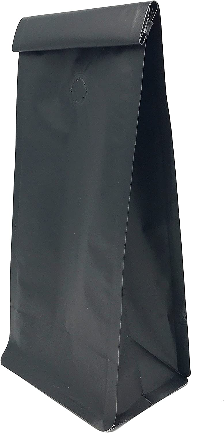 Flat Bottom Coffee Bags, Matte Black (12-16 oz), One Way Valve and Tine Tie (25 Count)