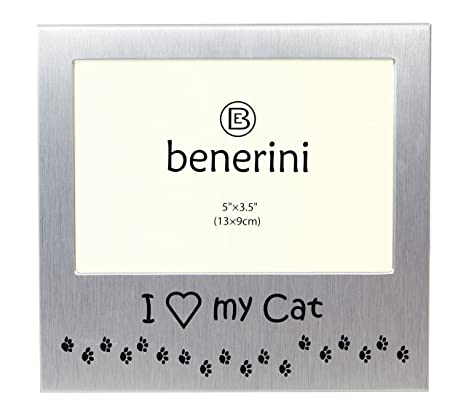 Photo Picture Frame Gift Will take a photo of 5 x 3.5 Inches - Brushed Aluminum Satin Silver Color. benerini I Love My Cat 13 x 9 cm