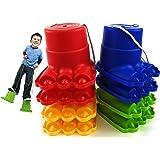 "Matty's Toy Stop Monster Feet Plastic Balancing Stilts 4.75"" (Red, Blue, Green & Yellow) Gift Set Bundle - 4 Pairs (8 Stilts"