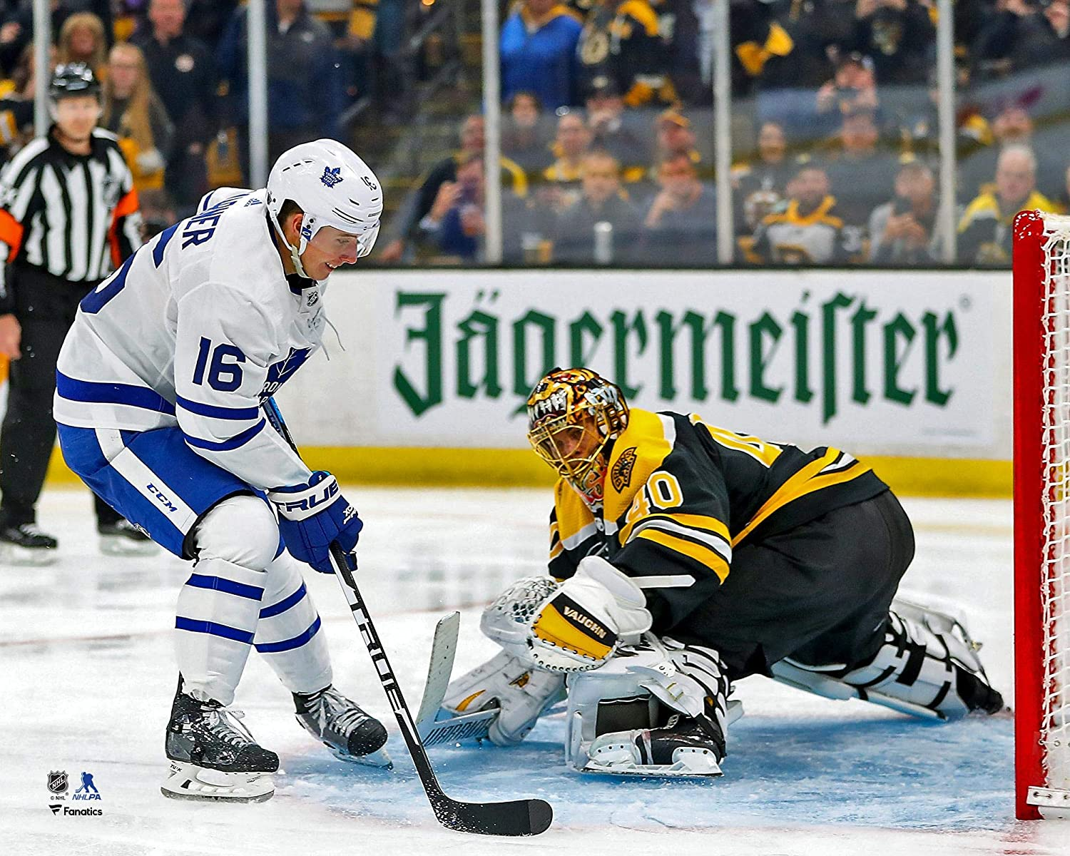 Mitch Marner Toronto Maple Leafs Unsigned 2019 Stanley Cup Playoffs Penalty Shot Goal vs Boston Photograph