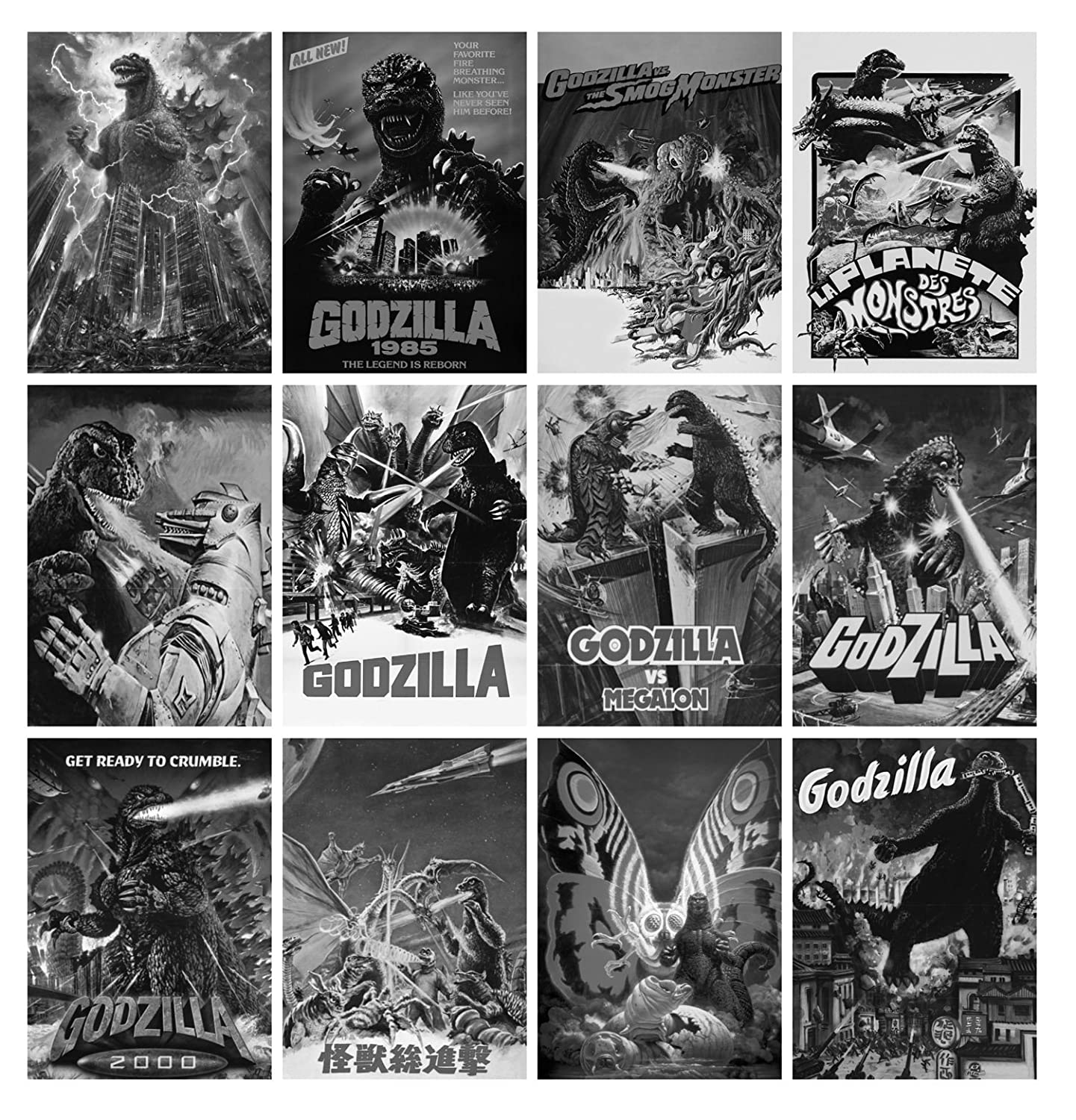 Coloring Calendar 2018 12 Páginas 8 X11 Vintage De Godzilla Movie