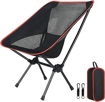 Flintronic Silla de Camping Portátil, de 100Kg/220Lb Silla Plegable Ultraligera compacta, Silla de Mochila de Camping, Ideal para Excursión, ...