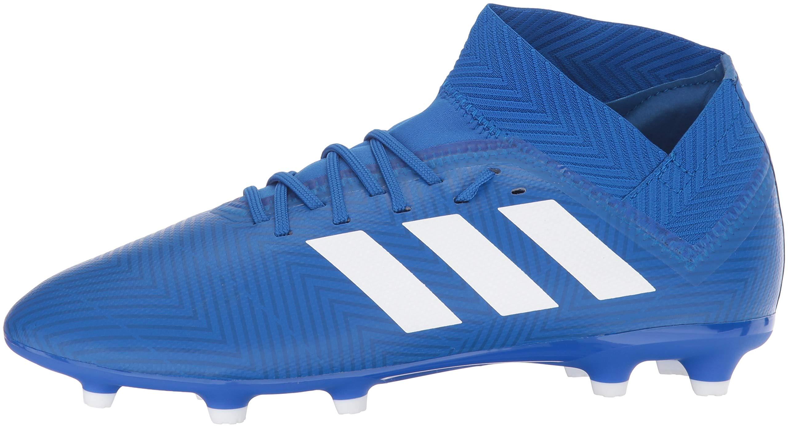 adidas Unisex Nemeziz 18.3 Firm Ground Soccer Shoe, White/Football Blue, 3.5 M US Big Kid by adidas (Image #5)