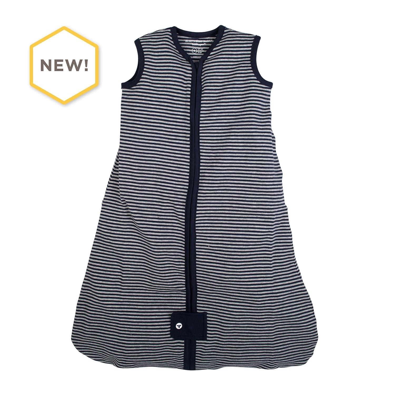 Burt's Bees Baby - Beekeeper Wearable Blanket, 100% Organic Cotton, Classic Stripe Midnight (Small)