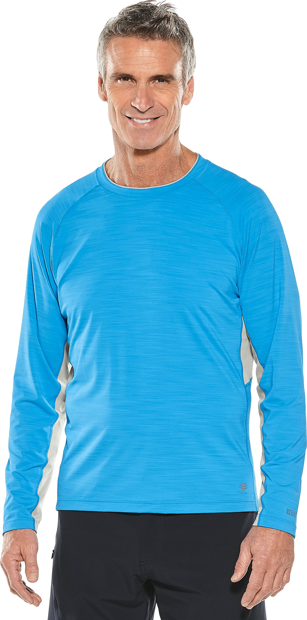 Coolibar UPF 50+ Men's Long Sleeve Ultimate Rash Guard - Sun Protective (Medium- Blue Water)