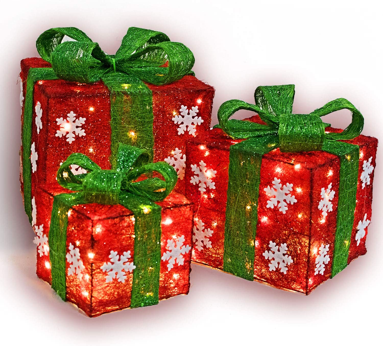 Lighted Christmas Gift Box Set Decor - Set of 3 Christmas Lighted Red Green Gift Box Christmas Decorations Yard/Home Décor Small / Medium / Large