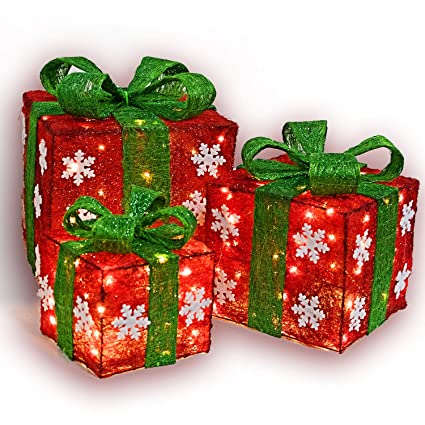 lighted christmas gift box set decor set of 3 christmas lighted red green gift box