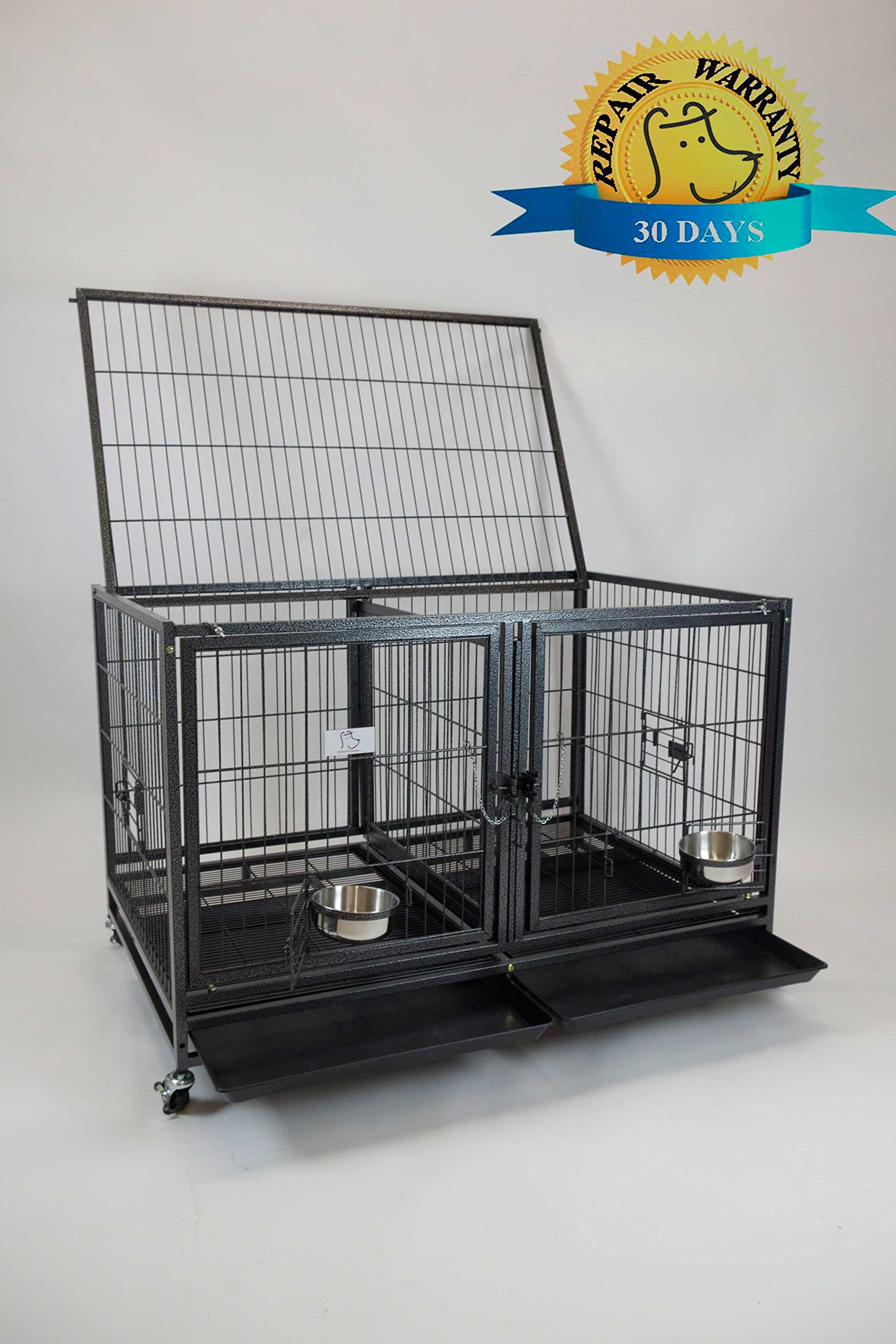 Homey Pet-43 All Metal Open Top Stackable Heavy Duty Cage(Upper) w/Floor Grid, Tray, Divider, and Feeding Bowl by Homey Pet