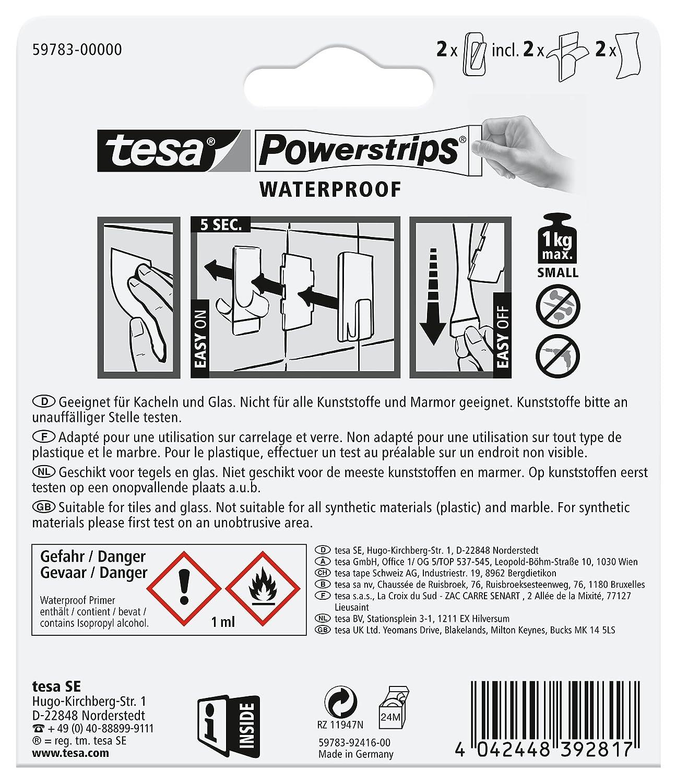 silber-wei/ß Waterproof Large Metall-Kunststoff Tesa Powerstrips Haken