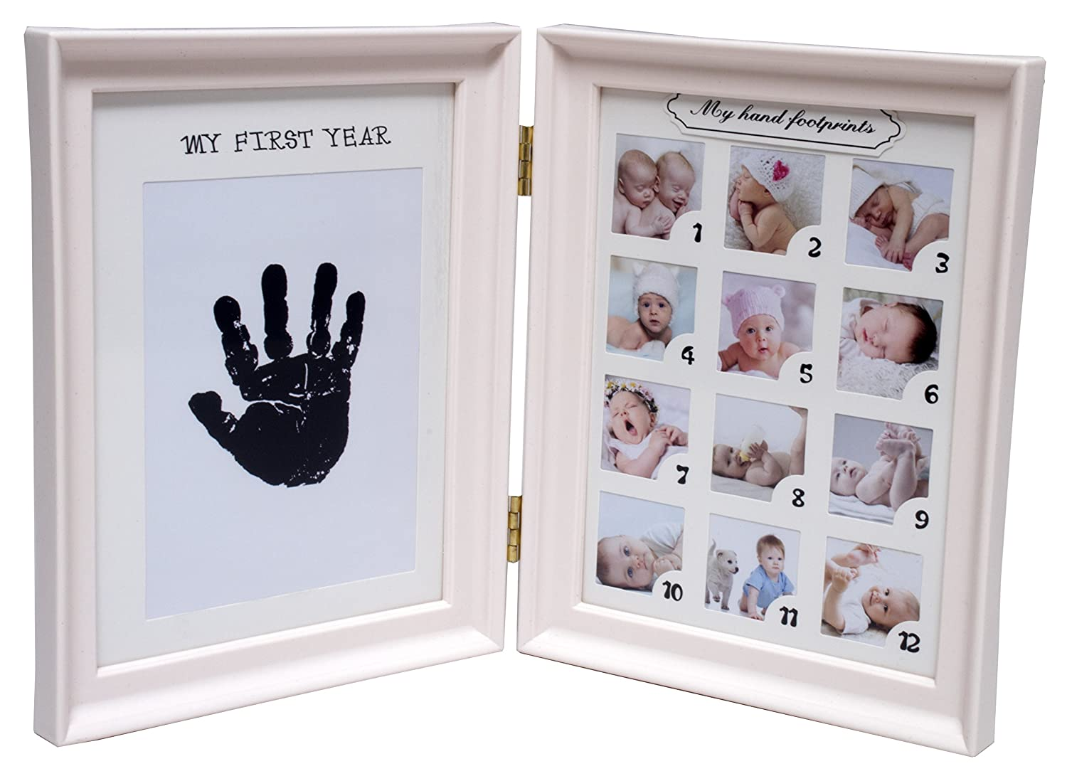 Royal Brands Baby Picture Frame - Baby Growth Collage Decor, Idea for Boy and Girl, Book Shaped Prints and 12 Pictures (Pink)
