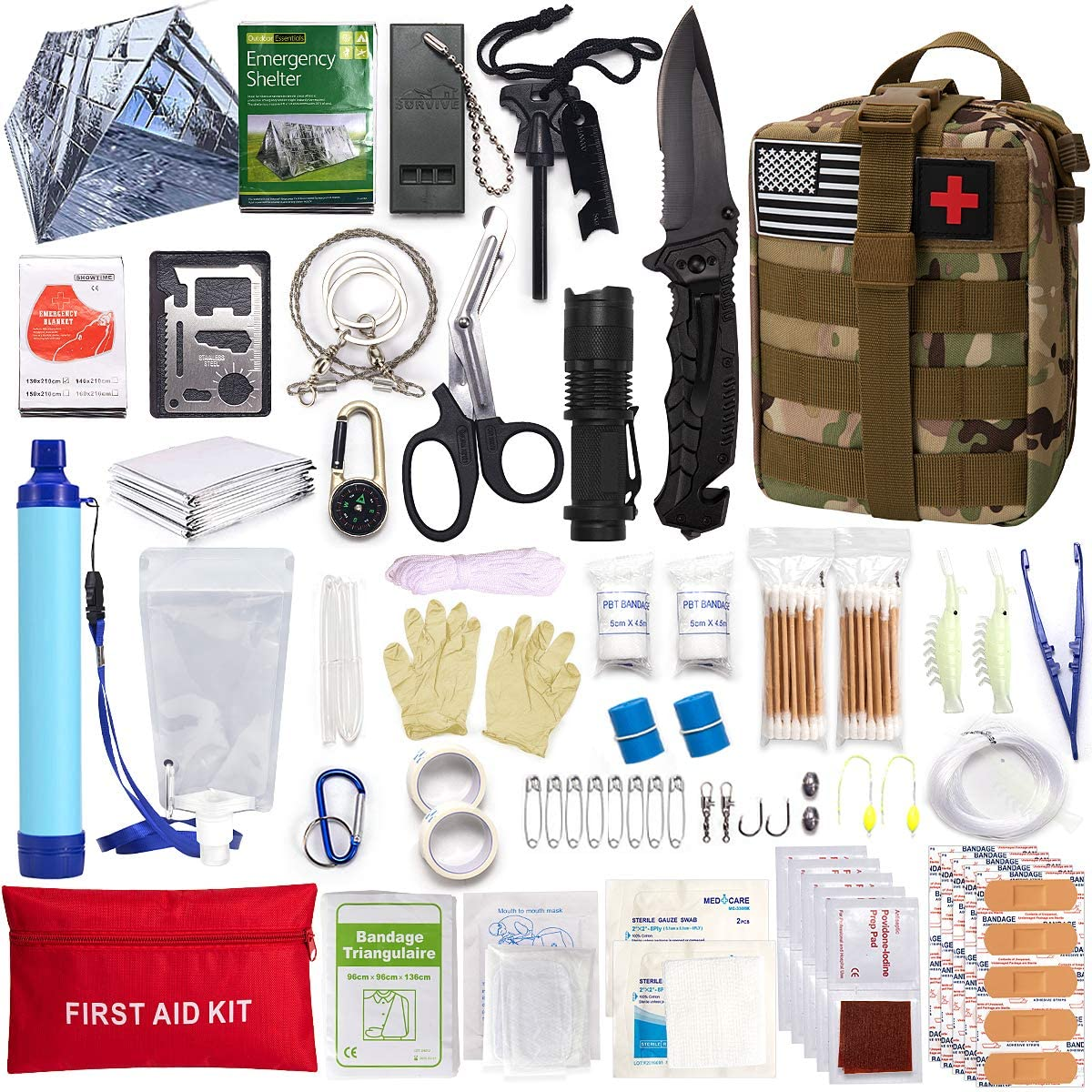 Survival First Aid Kit Molle System Compatible Outdoor Gear Emergency Kits Trauma Bag for Camping Boat Hunting Hiking Home Car Earthquake and Adventures: Health & Personal Care