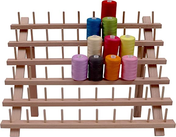Wooden Thread Rack 20 Spools Cone Large Thread Holder Foldable Thread Storage Organizer for Sewing Quilting Embroidery Hair-braiding