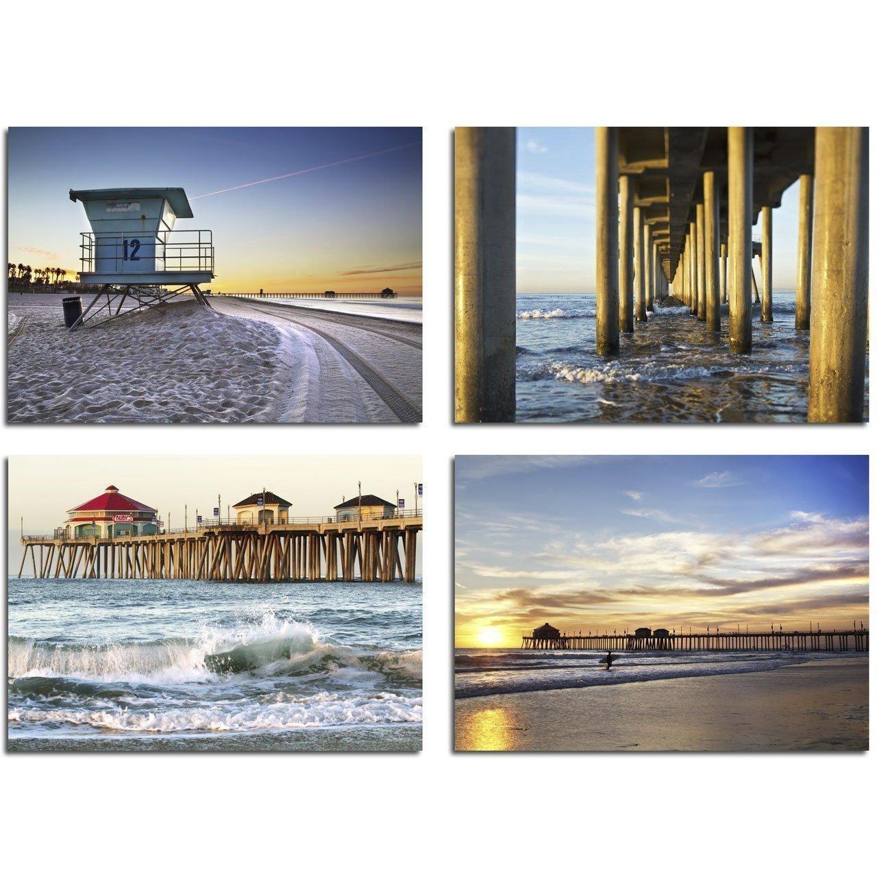 5x7 inch Huntington Beach Prints - Set of Four Photos -