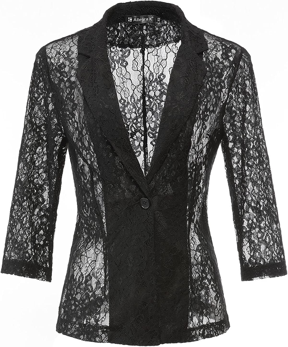 Allegra K Women's 3/4 Sleeves Notched Lapel One-Button Cardigan Lace Bomber Jacket Blazer Black