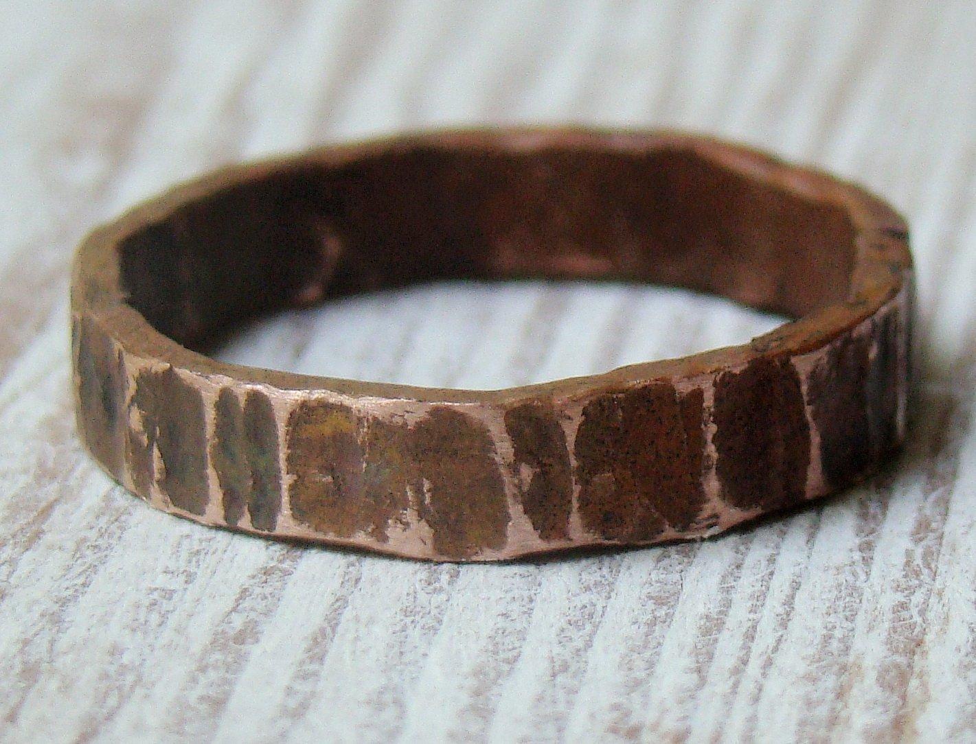 Wood Bark Mens Oxidized Wedding Ring Band Brown Ring Band Masculine Wedding Band Rustic Mens Band Unisex ring