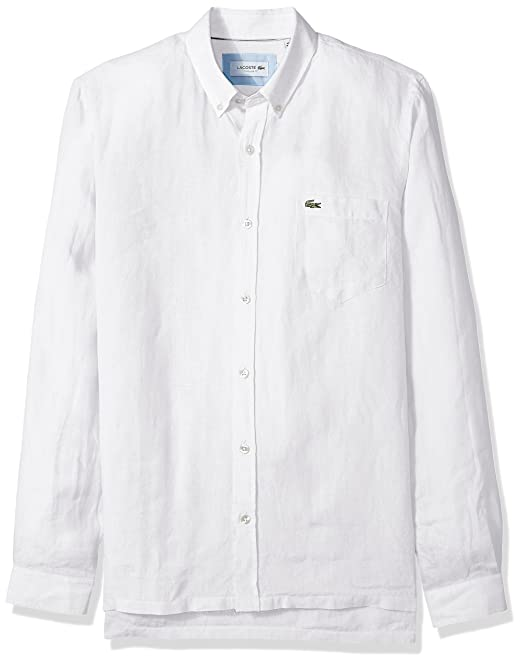 e2c9f0bae055a Lacoste Ch4990 - Camisa de Manga Larga para Hombre, de Lino Macizo, con  Botones