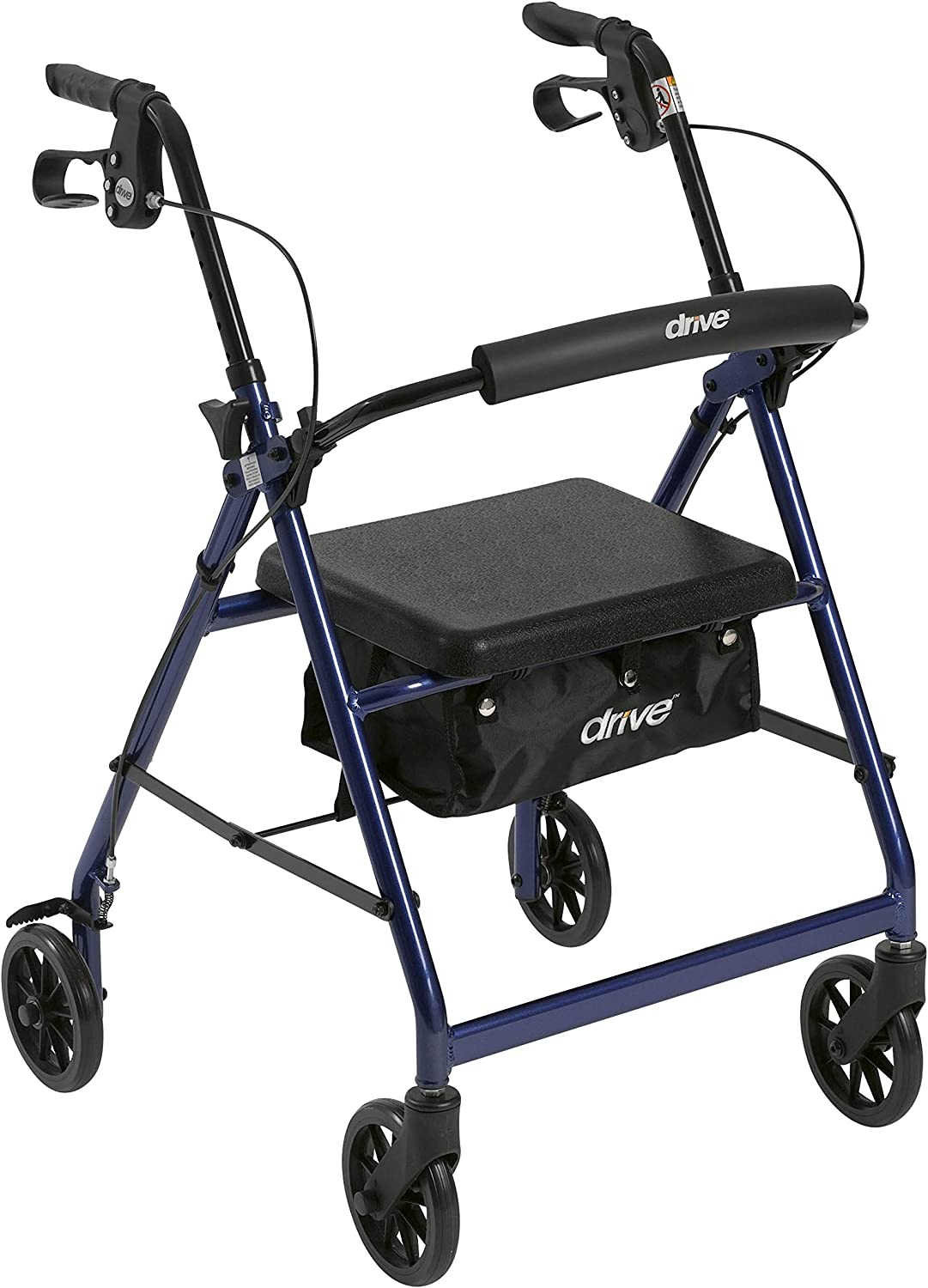 """Drive Medical Aluminum Rollator Walker Fold Up and Removable Back Support, Padded Seat, 6"""" Wheels, Blue"""