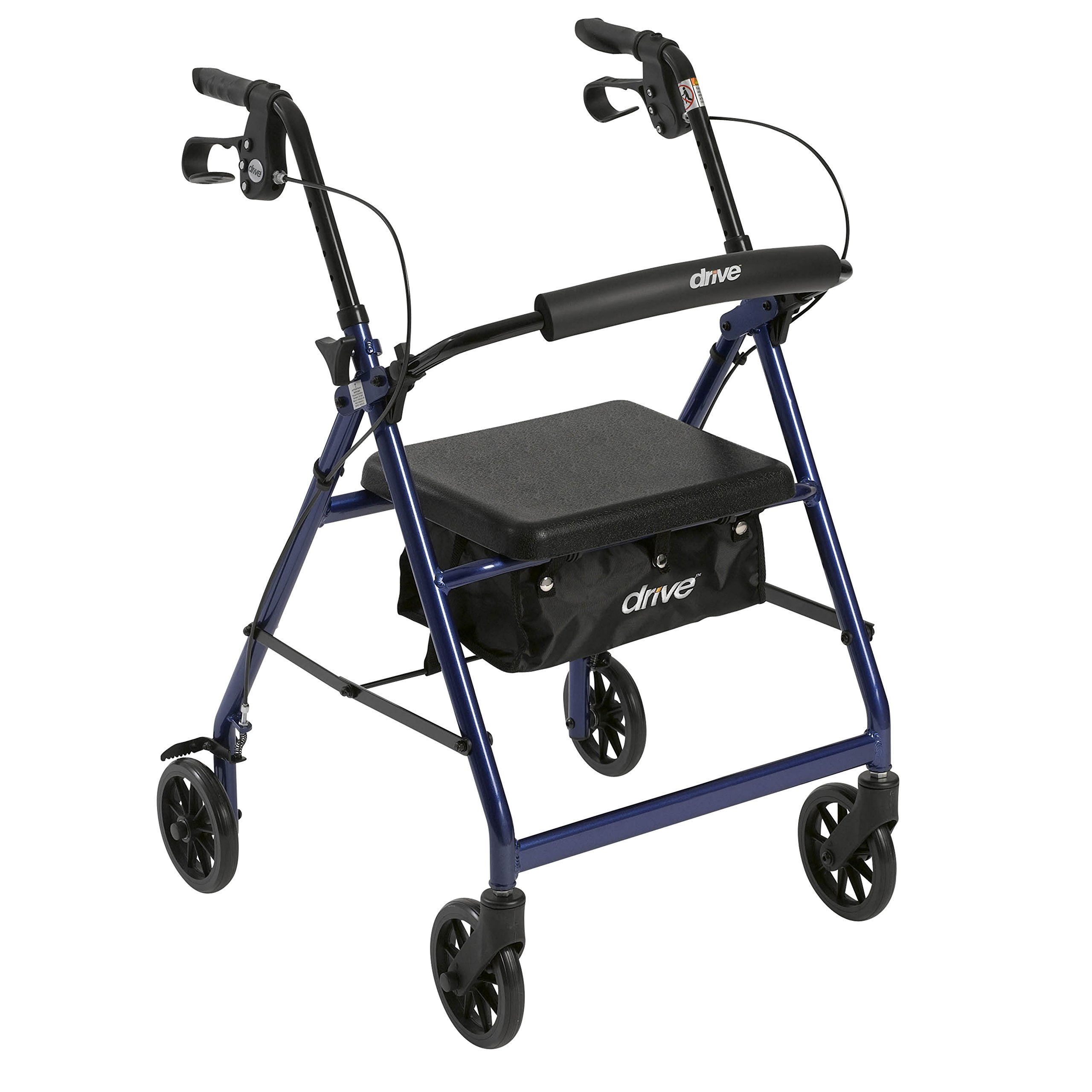 Drive Medical Aluminum Rollator Walker Fold Up and Removable Back Support, Padded Seat, 6'' Wheels, Blue by Drive Medical