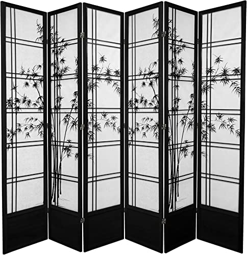 Oriental Furniture 7 ft. Tall Bamboo Tree Shoji Screen – Black – 6 Panels