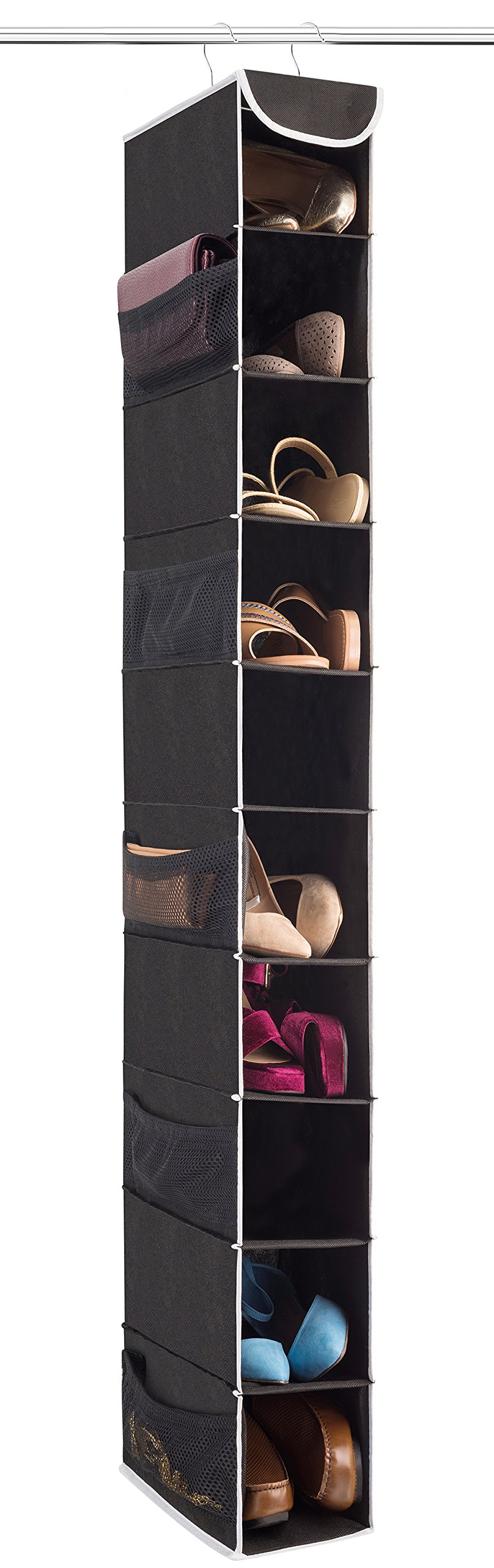 Attrayant ZOBER 10 Shelf Hanging Shoe Organizer, Shoe Holder For Closet   10 Mesh  Pockets For Accessories   Breathable Polypropylene, Black   5 ½u201d X 10 ½u201d X  54u201d