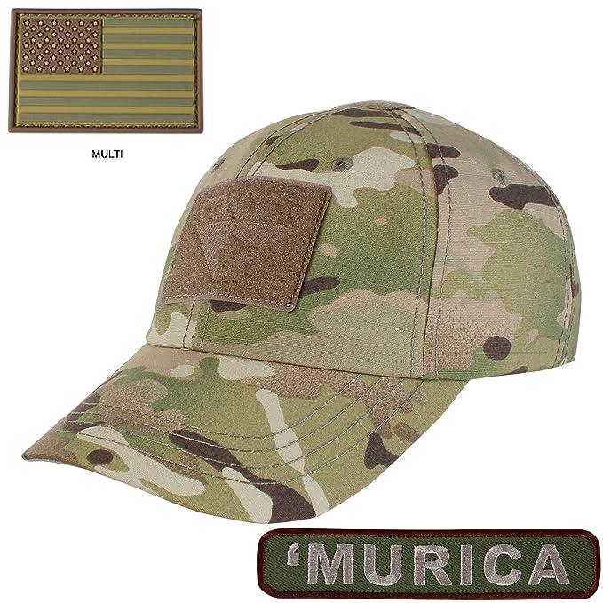 1c36d550d89f1 Condor Tactical Cap with PVC U.S. Flag TWO Morale Patch Bundle ( Murica)