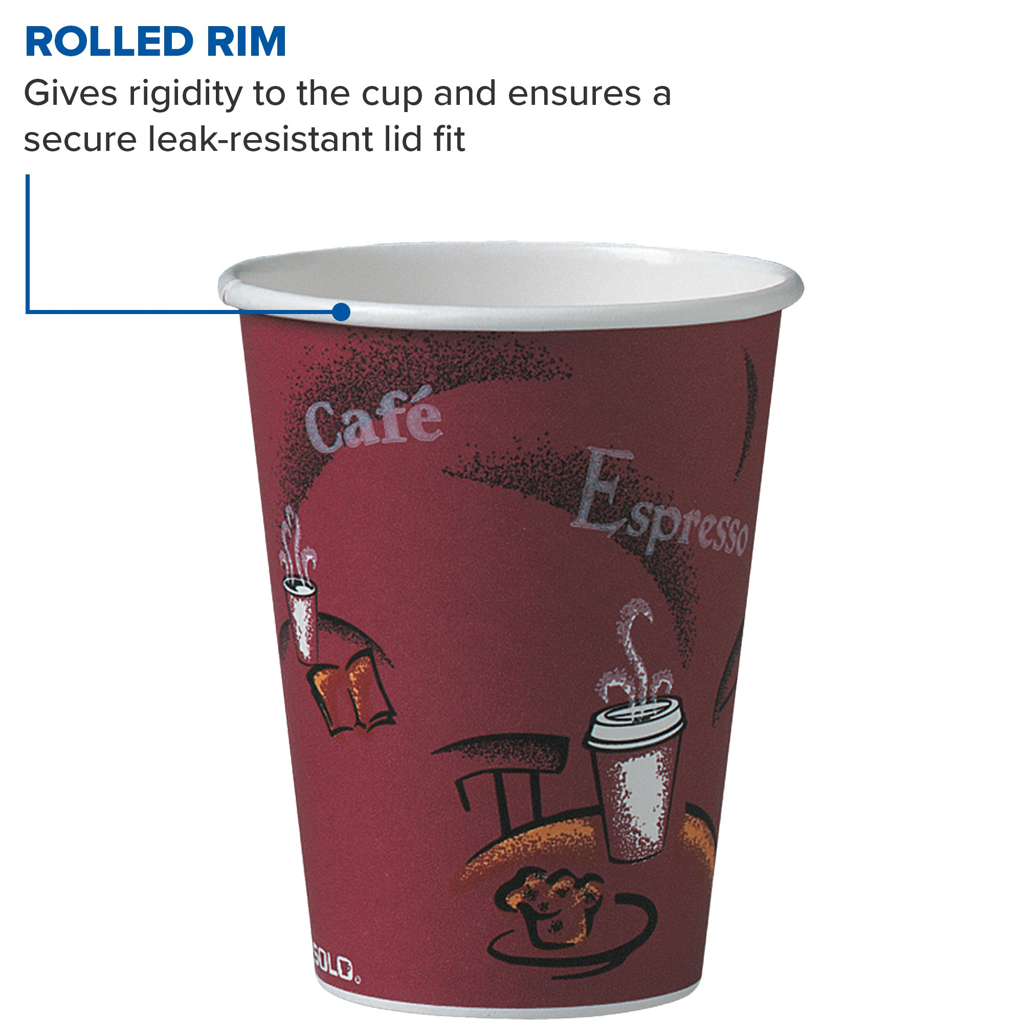 Solo 412SIN-0041 12 oz Bistro SSP Paper Hot Cup (Case of 1000) by Solo Foodservice (Image #3)