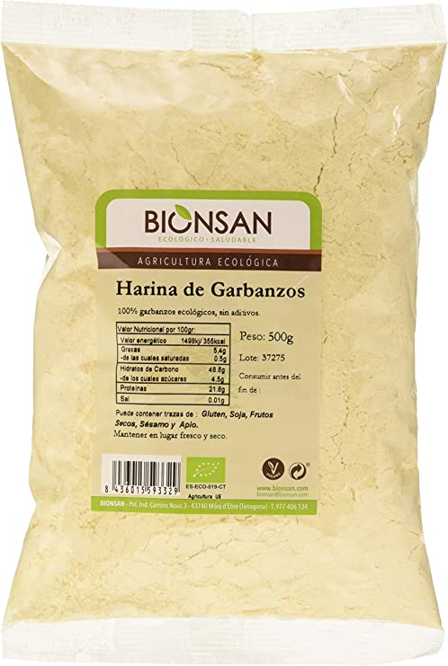 Bionsan Harina de Garbanzos Ecológica - 3 bolsas de 500 gr - Total: 1500 gr