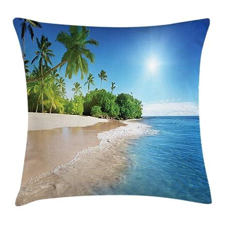 Funda de cojín azul, Sea Island Palmera azul tropical en ...