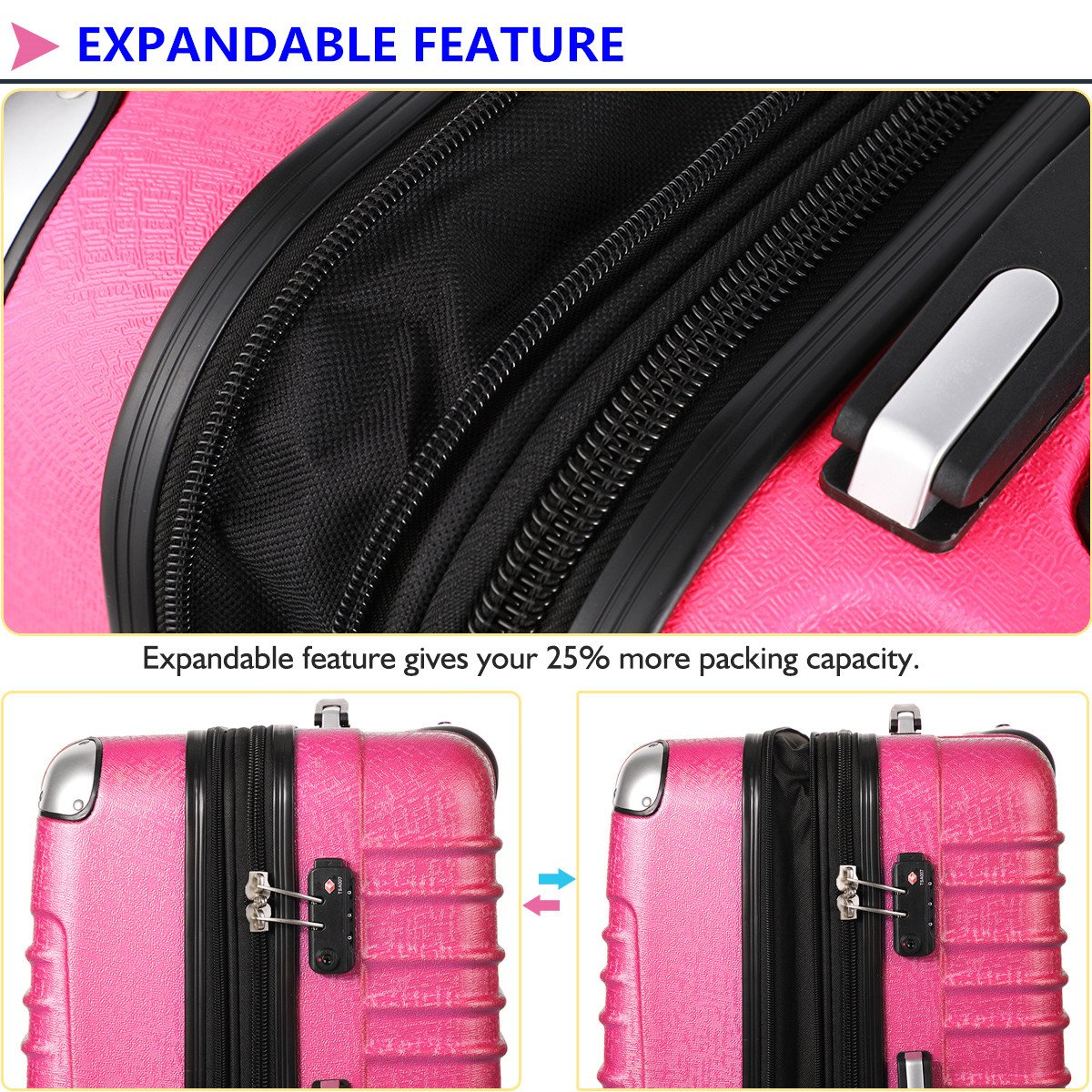 Hardside Carry On Luggage, Lightweight Expandable Spinner Carry Ons TSA Luggage Suitcase, 20 inches (HOT PINK) by Travel Joy (Image #3)