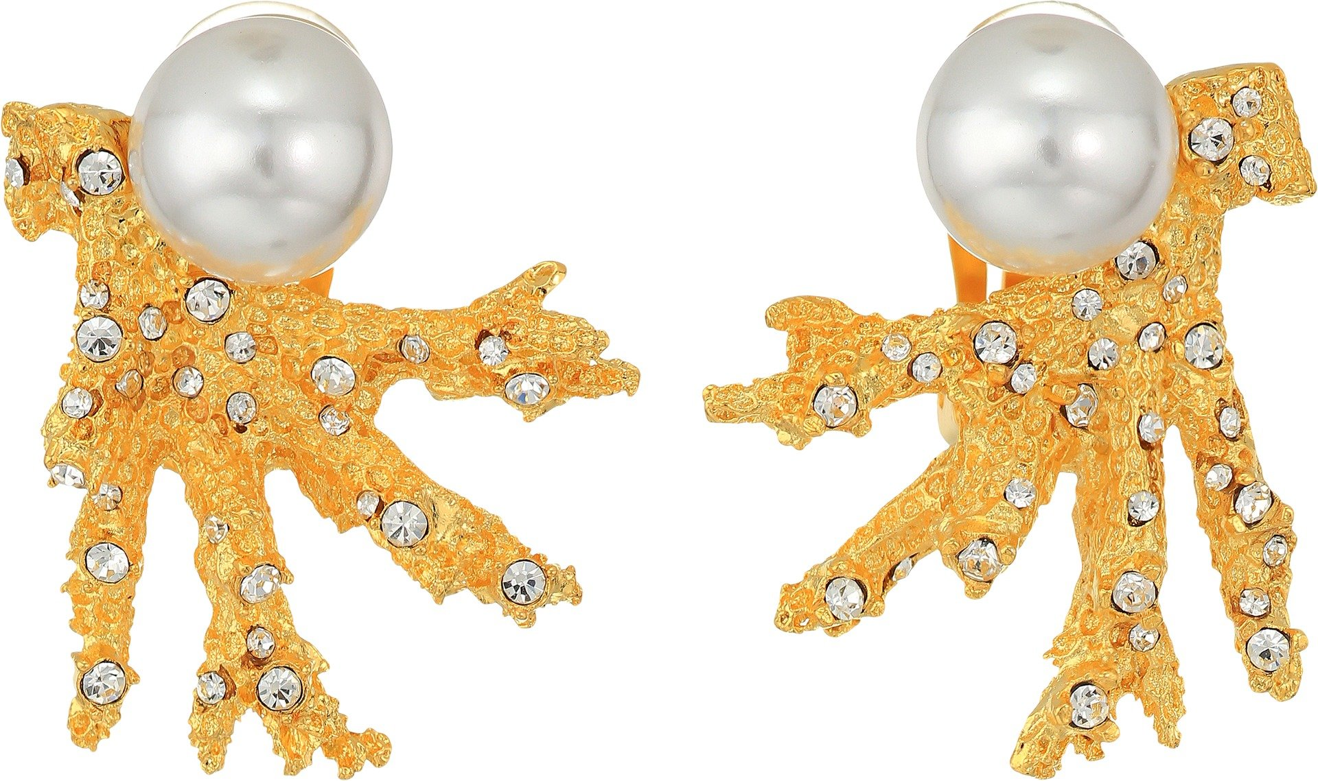 Kenneth Jay Lane Women's Satin Gold Branch w/ Crystal Dots and White Pearl Top Clip Earrings Satin Gold/Crystal/White Pearl One Size