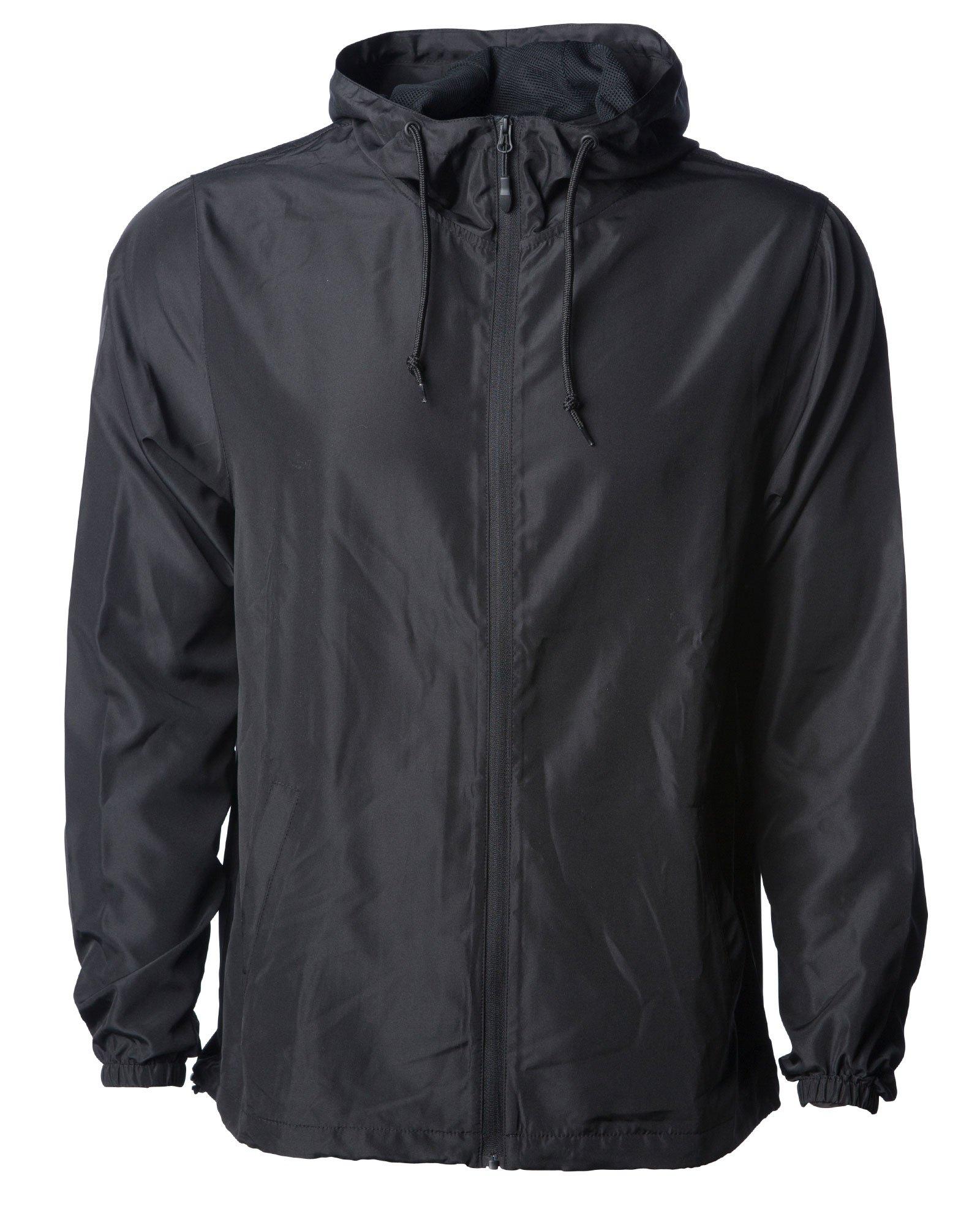 Global Men's Hooded Lightweight Windbreaker Rain Jacket Water Resistant Shell