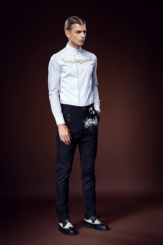 FANZHUAN Grandad Shirt for Men White Long Sleeve Slim Fit Embroidery Elegant