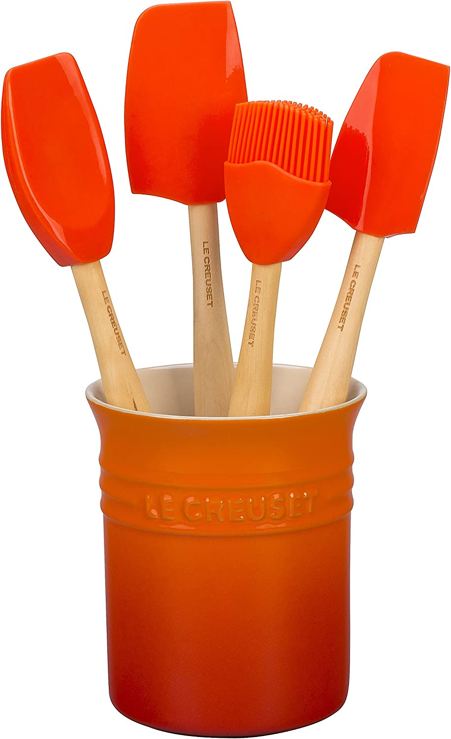 Le Creuset of America Craft Series 5Piece Utensil Set with Crock - Flame