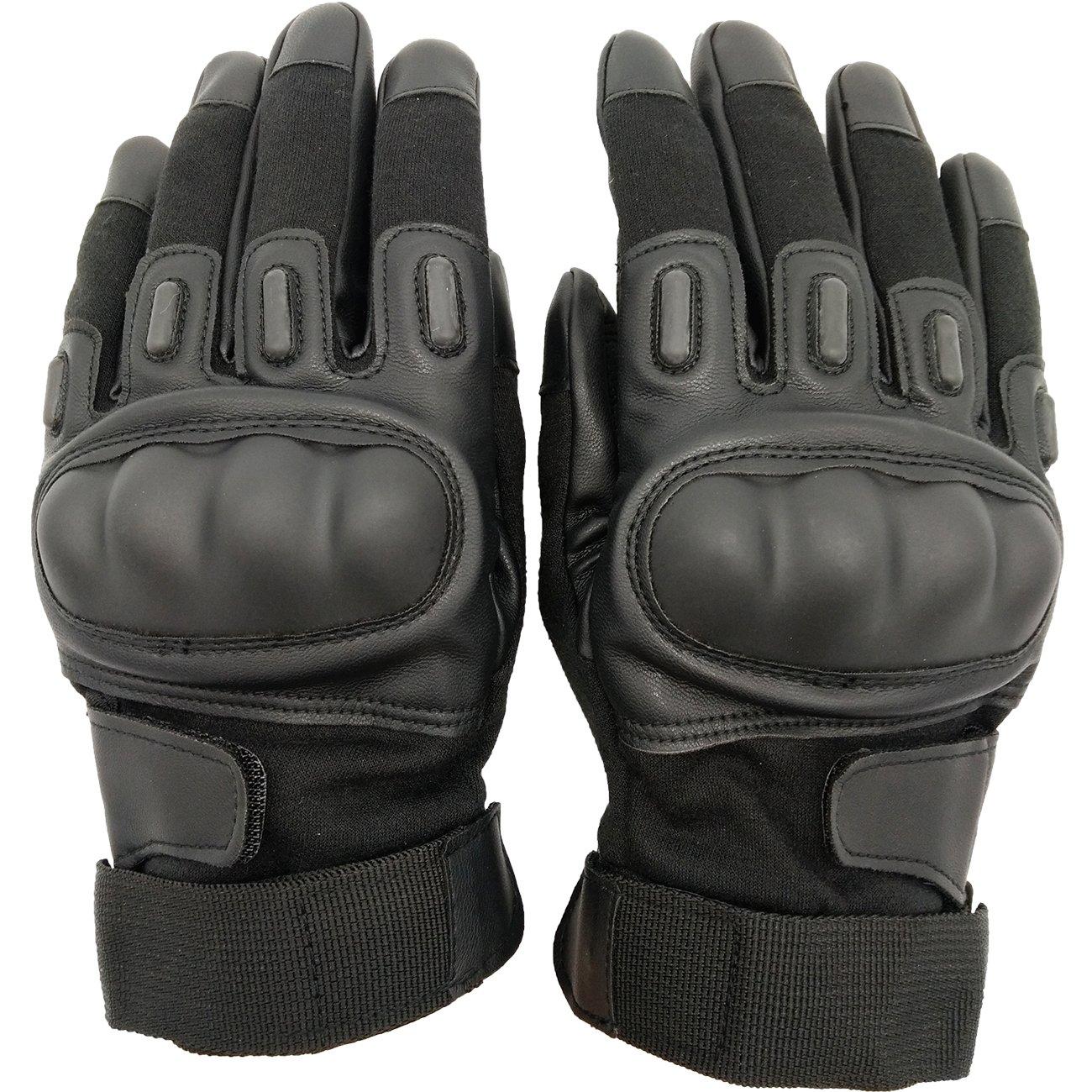 メンズタクティカル手袋ミリタリーゴムフル指ハードナックルアウトドアグローブフィットのサイクリング運転、ハイキングキャンピングPowersports Airsoft Paintball B076CSY7G7  ブラック X-Large