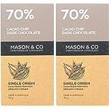 Mason & Co. 70% Cocoa Chip Dark Organic Exotic Artisanal Chocolate - 70g (Pack Of 2)