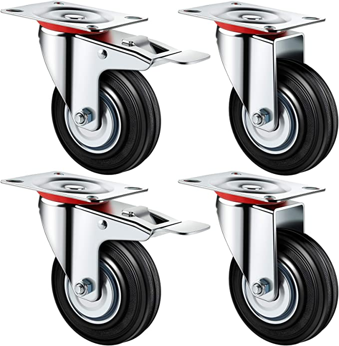 capacit/é de charge 10 kg YinKuu Lot de 4 roulettes fixes sans frein