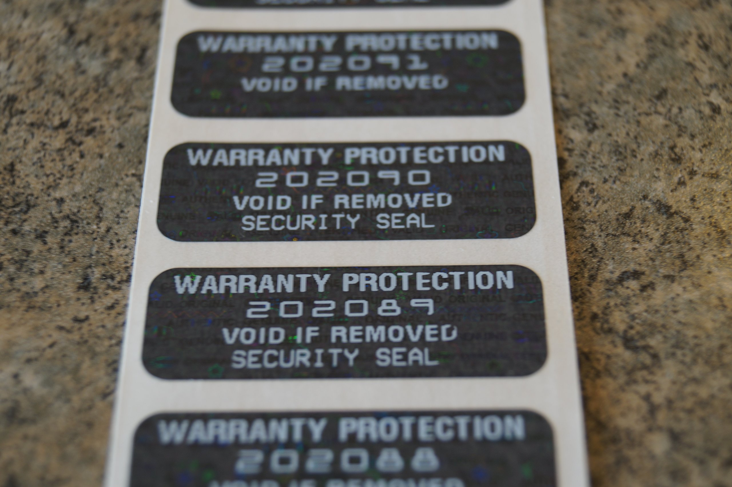 2000 Black Tint Hologram Tamper Evident High Security Labels Stickers (1.5 Inch X .5 Inch)