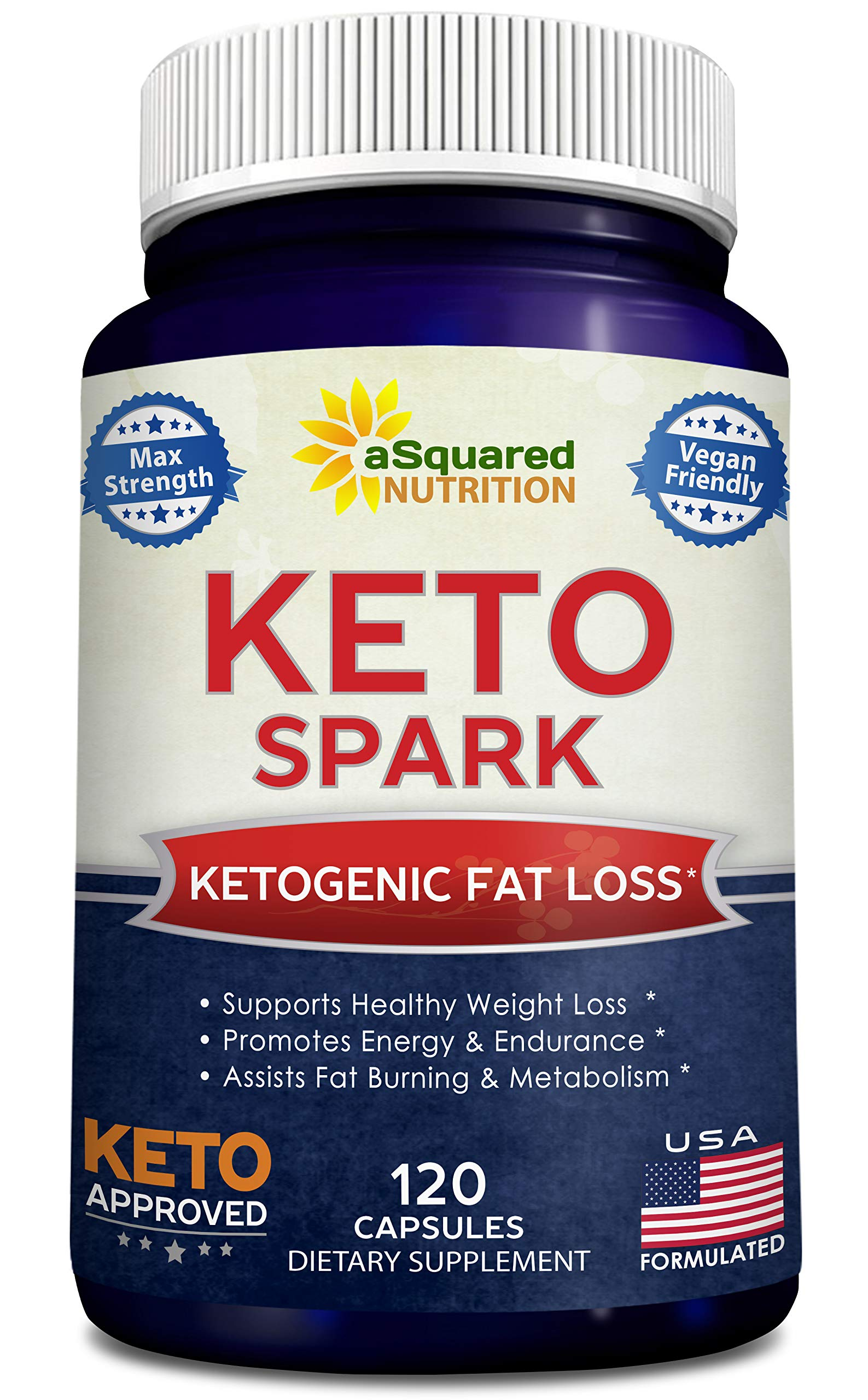 Keto Spark - Supplement for Weight Loss (120 Capsules) - Pills Approved for The Ketogenic & Paleo Diet - Helps Stay in Ketosis, Increase Energy & Focus - Caffeine & Ketones for Women & Men by aSquared Nutrition